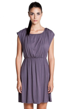 Giselle Elastic Waist Nursing Dress (Dark Grey) by Dote