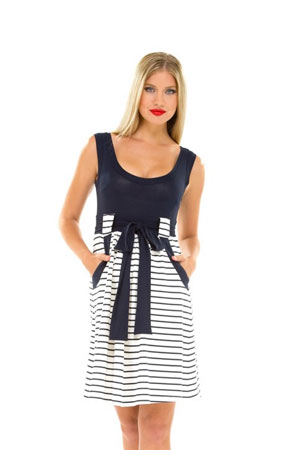 Lillian Maternity Dress (Navy & White Stripes) by Olian
