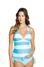 Andie 2-pc. MaternityTankini (Turquiose Stripes) by Maternal America