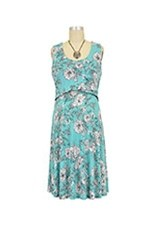Chloe Cross Empire Nursing Dress (White Floral Print) by Maternal America