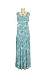 Chloe Cross Empire Nursing Maxi Dress (White Floral Print) by Maternal America
