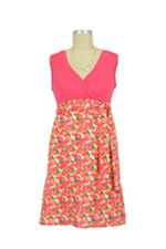 Retro Tomato Print Surplice Cotton Nursing Dress (Coral/ Tomato Print) by Japanese Weekend