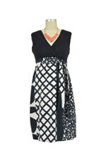 Amanda Surplice Cotton Nursing Dress (Black & White Print) by Japanese Weekend