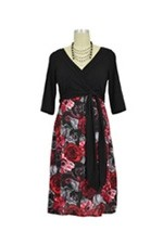 Cora D&A Surplice Bodice Nursing Dress (Black and Red Floral Print) by Japanese Weekend