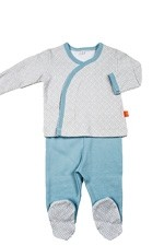 Magnificent Baby Boy's  L/S Kimono & Pant Set (Blue Mod Dot) by Magnificent Baby