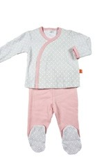 Magnificent Baby Girls L/S Kimono & Pant Set (Pink Mod Dot) by Magnificent Baby
