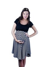 The Darling Scoopneck Nursing Dress (Black & Stripes) by Larrivo