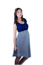 The Darling Scoopneck Nursing Dress (Navy & White Stripes) by Larrivo
