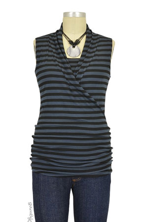 Baju Mama Isabella Sleeveless Nursing Top (Charcoal & Black Stripes) by Baju Mama