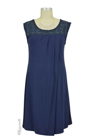 Colette Crochet Nursing Dress (Navy) by Annee Matthew