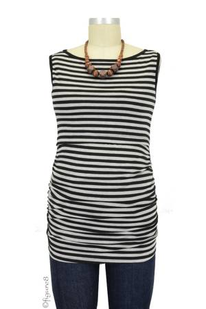 Baju Mama Audrey Sleeveless Boatneck Nursing Top (Heather Grey & Black Stripe) by Baju Mama