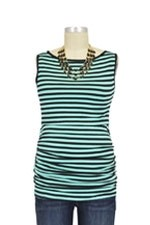 Baju Mama Audrey Sleeveless Boatneck Nursing Top (Mint & Black Stripes) by Baju Mama
