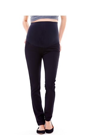 Ingrid & Isabel Ponte Skinny Maternity Pant with BellaBand Panel (Jet Black) by Ingrid & Isabel