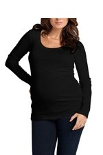 Ingrid & Isabel Long Sleeve Lux Scoop Neck Maternity Tee (Jet Black) by Ingrid & Isabel