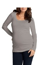 Ingrid & Isabel Long Sleeve Scoop Neck Maternity Tee (Grey) by Ingrid & Isabel