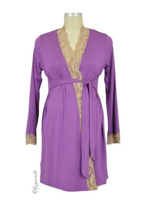 Baju Mama Emma Long Sleeve Lace Trim Robe (Boysenberry/Cream Lace) by Baju Mama