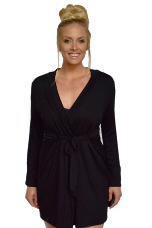 Baju Mama Jane Modal Long Sleeve Robe (Black) by Baju Mama