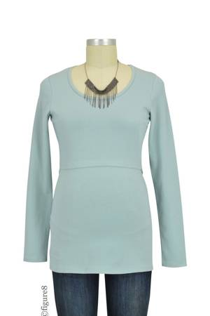 Boob Design Organic Long Sleeve Nursing Top (Ice Blue) by Boob Design