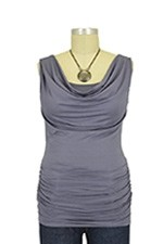 Baju Mama Ava Sleeveless Cowl Neck Nursing Top (Aluminum) by Baju Mama