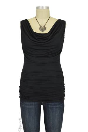 Baju Mama Ava Sleeveless Cowl Neck Nursing Top (Onyx) by Baju Mama