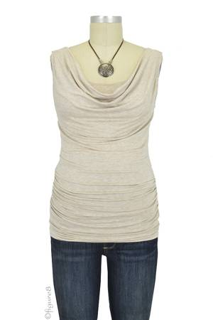 Baju Mama Ava Sleeveless Cowl Neck Nursing Top (Latte) by Baju Mama
