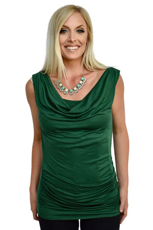 Baju Mama Ava Sleeveless Cowl Neck Nursing Top (Hunter Green) by Baju Mama