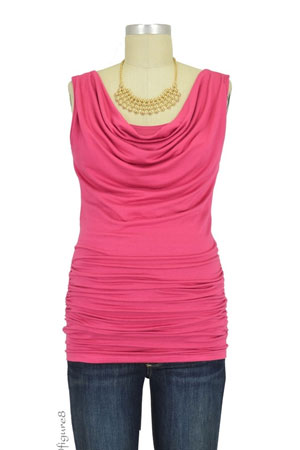 Baju Mama Ava Sleeveless Cowl Neck Nursing Top (Raspberry) by Baju Mama