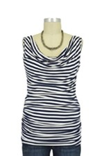 Baju Mama Ava Sleeveless Cowl Neck Nursing Top (Navy & White Stripes) by Baju Mama