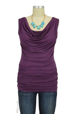 Baju Mama Ava Sleeveless Cowl Neck Nursing Top (Aubergine) by Baju Mama