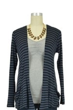 Baju Mama Sophia Maternity & Nursing Cardigan (Charcoal & Black Stripes) by Baju Mama