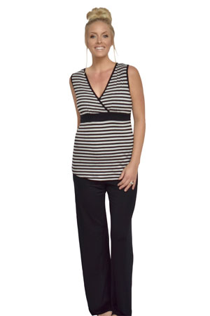 Baju Mama Jane Modal Sleeveless Nursing PJ Set by Baju Mama