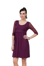 Laced-Sleeve Nursing Dress (Plum) by Dote