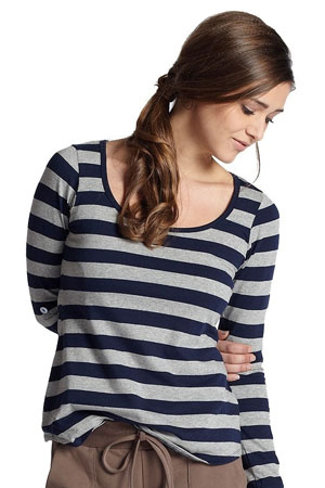 The Maggie Stripes Nursing Tee by Mothers en Vogue