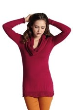 Aria Open-Stitch Cowlneck Nursing Sweater (Cherry Red) by MEV