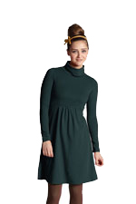 Jackie Turtle-Neck Long Sleeve Nursing Dress (Darkest Spruce) by MEV