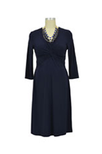 Gia Luxe Twisty 3/4 Sleeve Nursing Dress (Navy) by Japanese Weekend
