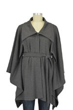 Japanese Weekend Maternity Ponte Poncho (Grey) by Japanese Weekend