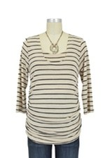 Morgan Drape Back Nursing Top (Cream Stripes) by Japanese Weekend