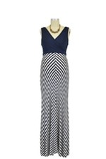 Baju Mama Tiffany Colorblock Stripes Maternity Dress (Navy & White Stripes) by Baju Mama