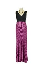 Baju Mama Tiffany Colorblock Stripes Maternity Dress (Black & Fuchsia Stripes) by Baju Mama