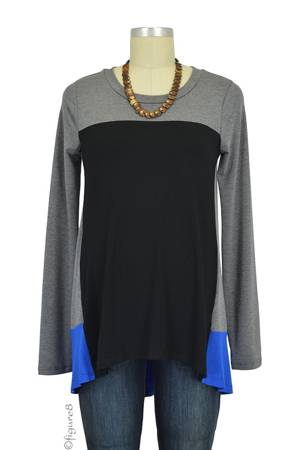 Dena Colorblock Long Sleeve Maternity Top (Heather Charcoal/Black/Royal) by Maternal America