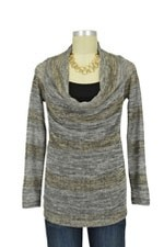 Quincy D&A Cowl Sweater with Nursing Tank (Gold Sweater Stripe) by Japanese Weekend