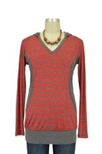 Mandy Stripes Nursing Hoodie (Red & Charcoal Stripes) by Olian