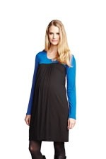 Meredith Babydoll Nursing Dress (Black/Royal) by Maternal America