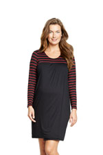 Meredith Babydoll Nursing Dress (Black/Wine Stripes) by Maternal America