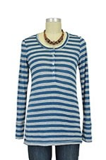 Jayden Maternity Henley (Teal Stripe) by Everly Grey