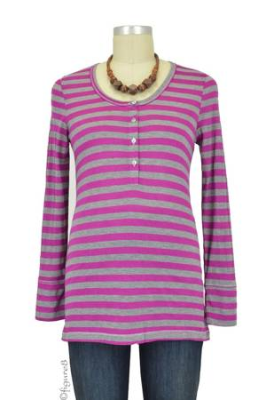 Jayden Maternity Henley (Magenta Stripe) by Everly Grey