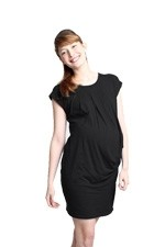 Natalia Kimono Pleats Bamboo Maternity Dress (Black) by Spring Maternity