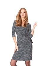 Seraphine Renatta 3/4 Sleeve Faux Wrap Maternity Dress (Navy Polka-Dot) by Seraphine