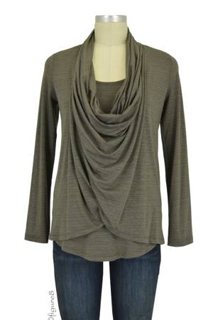 Lily Draped Nursing Top (Olive Slub) by Maternal America